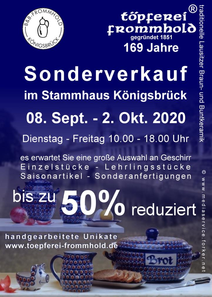 Sonderverkauf 2020 Töpferei Frommhold Königsbrück